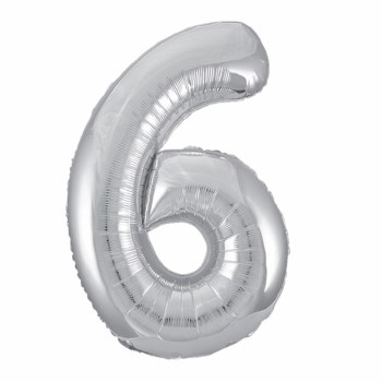 """34"""" Number Balloon, Silver Foil- 6"""