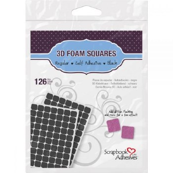 "3D Foam Squares- .5""x.5"", Black"