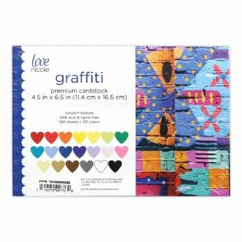 """6.5 x 4.5"""" Cardstock Pack, 100ct- Graffiti"""