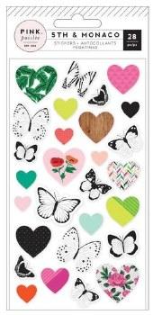 5th & Monaco Stickers- Puffy Butterflies & Hearts