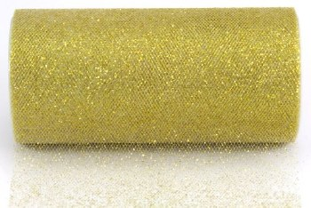 """6"""" Glitter Tulle Roll, 10 yards- Antique Gold"""