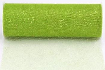 "6"" Glitter Tulle Roll, 10 yards- Apple Green"