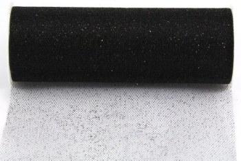"6"" Glitter Tulle Roll, 10 yards- Black"