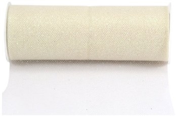 "6"" Glitter Tulle Roll, 10 yards- Ivory"