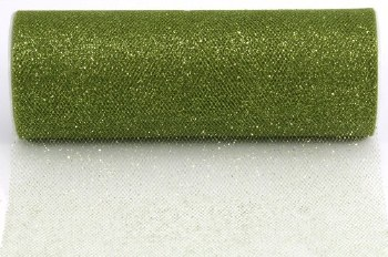 "6"" Glitter Tulle Roll, 10 yards- Olive"