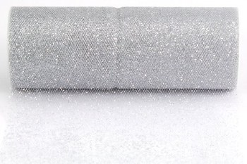 """6"""" Glitter Tulle Roll, 10 yards- Silver"""