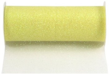 """6"""" Glitter Tulle Roll, 10 yards- Yellow"""