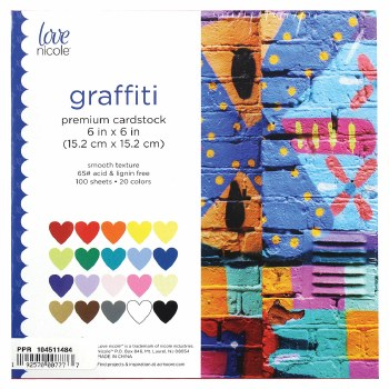 "6 x 6"" Cardstock Pack, 100ct- Graffiti"