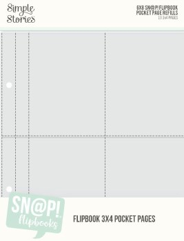 """Sn@P! 6x8 Flipbook Refill Pages- 3""""x4"""" Pockets"""