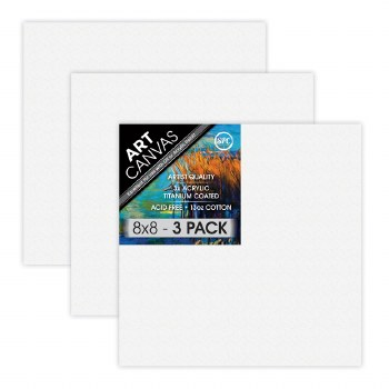 """8""""x8"""" Artist Stretched Canvas - Triple Pack"""