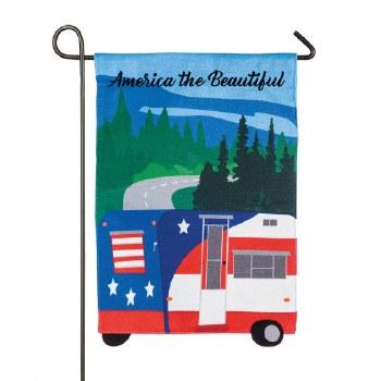 Garden Flag, Burlap- America the Beautiful