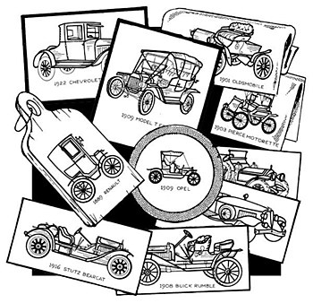 Aunt Martha's Iron On Transfers- Antique Cars #3772