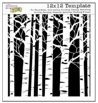 12x12 Stencil- Aspen Trees
