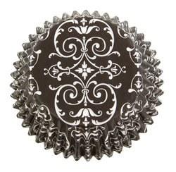 Baking Cups, 75ct- Black & White Trellis