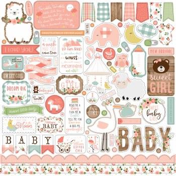 Baby Girl Stickers- 12x12 Sheet