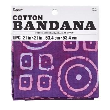 """Cotton Bandana 21""""x21""""- Lilac Batik"""