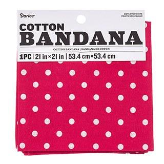 """Cotton Bandana 21""""x21""""- Swiss Dots Pink"""
