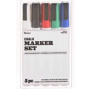 Chalk Marker Set, 5pc- Basics