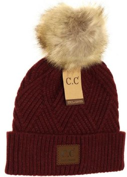 CC Knit Beanie, Cuffed Diagonal w/ Heathered Pom- Berry