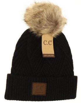 CC Knit Beanie, Cuffed Diagonal w/ Heathered Pom- Black