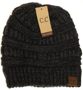 CC Knit Beanie, Diagonal Stitch- Black + Grey Mix