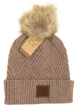 CC Knit Beanie, Cuffed Diagonal w/ Heathered Pom- Taupe Mix