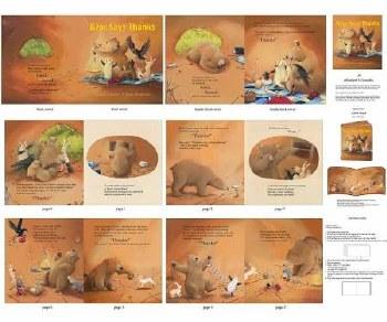 Kids Fabric Book Panel- Bear Says Thanks