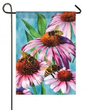 Garden Flag, Suede- Bees & Coneflower
