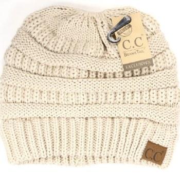 CC Knit Beanie Tail- Beige
