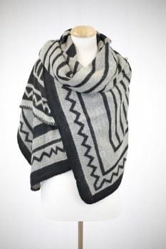 Blanket Scarf- Black & White Aztec Print