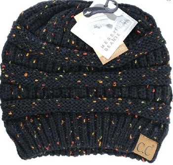 CC Knit Beanie Tail- Black Confetti