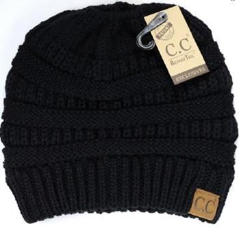 CC Knit Beanie Tail- Black
