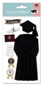 Jolee's Graduation Dimensional Stickers- Black Grad Cap & Gown