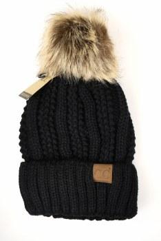 CC Knit Beanie, Cuffed w/ Fur Pom- Black