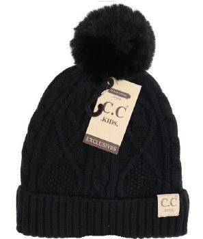 Kid's CC Cable Knit Beanie w/ Pom- Black