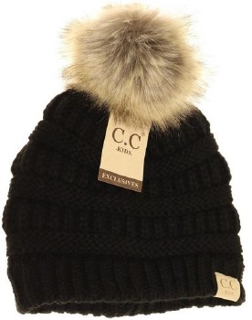 Kid's CC Knit Beanie w/ Natural Pom- Black