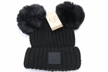 Kid's CC Knit Double Pom Beanie- Black