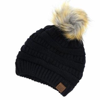 CC Knit Beanie w/ Fur Pom- Black