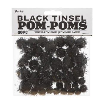 Tinsel Pom-Poms- Black