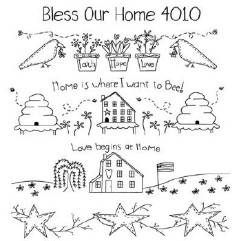 Aunt Martha's Iron On Transfers- Bless Our Home #4010