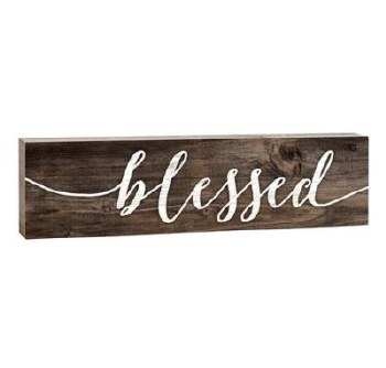 Skinny & Small Wood Sign- Blessed