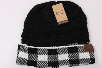 CC Knit Beanie- Buffalo Check, White & Black
