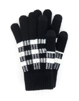 Buffalo Plaid Knit Texting Gloves- Black & White