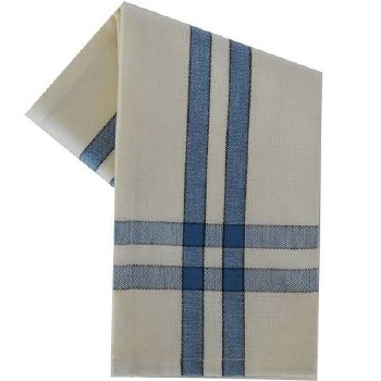 """Two Striped Cream 20""""x28"""" Tea Towel- Provincial Blue with Black"""