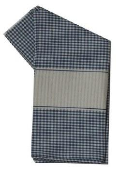 "Mini Check w/ Cream Band 20"" x 28"" Tea Towel- Blue"