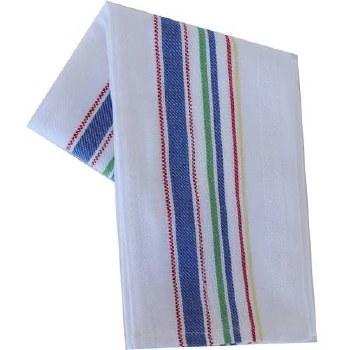 "Vintage Style 20"" x 28"" Tea Towel- Multi Color Stripes on White"