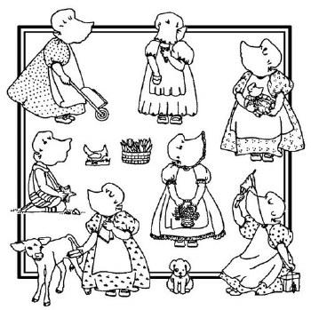 Aunt Martha's Iron On Transfers- Bonnie Bonnet Too #3989