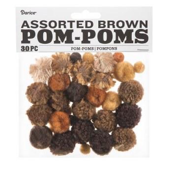 Assorted Pom-Poms- Brown