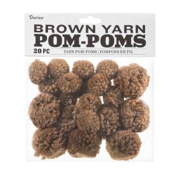 Yarn Pom-Poms- Brown