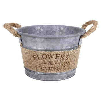 Galvanized Bucket- Flowers & Garden w/ Burlap